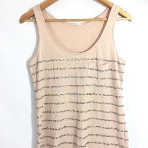 J.Crew Sequin Tank Top Peachy Pale Pink sz Small